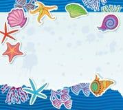 Découpez un morceau de papier avec des coquilles, algue et  illustration libre de droits