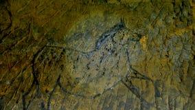 Découverte de peinture préhistorique de cheval en caverne de grès Le projecteur brille sur la peinture humaine historique clips vidéos