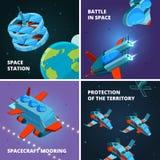 Découverte de voyage dans l'espace Astronaute ou astronaute à l'explorateur d'orbite avec le vaisseau spatial au concept interste illustration libre de droits