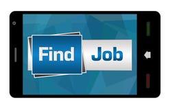 Découverte Job On Mobile Screen Image libre de droits