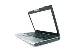 Découvrez l'ordinateur portatif avec le moniteur blanc photographie stock