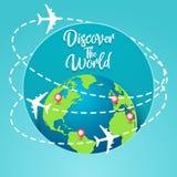 Découvrez le concept du monde avec le vol autour du monde illustration de vecteur