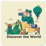 Découvrez le monde Le voyage les explorent, découvrent et se déclenchent au monde Regard de touristes par des jumelles dans le pa illustration libre de droits