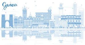 Décrivez Genoa Italy City Skyline avec les bâtiments bleus et reflétez illustration de vecteur