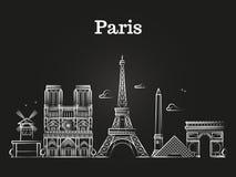 Décrivez l'architecture française, vecteur d'horizon de ville de panorama de Paris illustration de vecteur