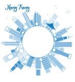Décrivez l'horizon de Hong Kong avec le taxi et copiez l'espace illustration stock