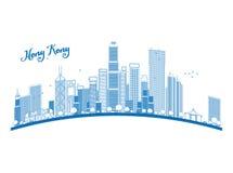 Décrivez l'horizon de Hong Kong avec les gratte-ciel et le taxi bleus illustration libre de droits