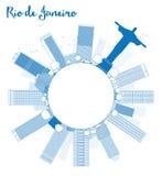 Décrivez l'horizon de Rio de Janeiro avec les bâtiments bleus et copiez le spac illustration stock