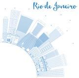 Décrivez l'horizon de Rio de Janeiro avec les bâtiments bleus et copiez le spac illustration libre de droits
