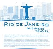 Décrivez l'horizon de Rio de Janeiro avec les bâtiments bleus et le placez pour illustration stock