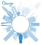 Décrivez l'horizon de ville de Chicago avec les gratte-ciel bleus et copiez le spac illustration de vecteur