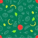 Décrivez l'illustration avec les épices et les ingrédients tirés par la main pour la pizza Photos stock