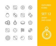 Décrivez la conception plate d'icônes légèrement, ligne moderne course Image stock