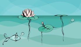 Décrivez le dessin de vecteur du lotus flottant sur la surface de lac illustration de vecteur