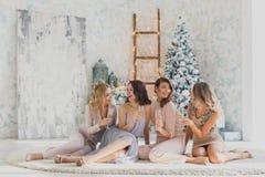 Décrivez montrer le groupe d'amis célébrant la nouvelle année Photographie stock