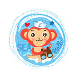 Décrivez pour la conception de T-shirt d'enfants Bateau de Monkey On The de marin Marin Baby Gift de singe Illustration Stock