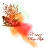 Déesse de Durga Hindu avec Asura en hommage au puja de Durga Images libres de droits