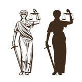 Déesse de justice Themis avec le bandeau, les échelles et l'épée dans des mains Illustration de vecteur illustration libre de droits