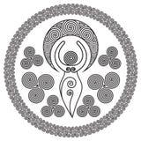 Déesse en spirale antique : Cette déesse sensible représente les puissances créatives du cercle féminin et et interminable divin  illustration stock