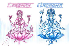 Déesse indienne Lakshmi et Ganesha dans le regard peu précis Photographie stock