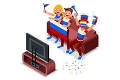 Défenseur de drapeau d'équipe de football de la Russie Image libre de droits