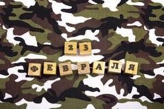 Défenseur de la carte de voeux de jour de patrie Traduction Russie Photographie stock