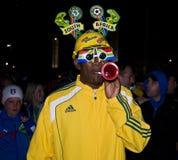 Défenseur du football de SA - carte de travail 2010 de la FIFA Photographie stock libre de droits