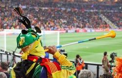 Défenseur espagnol avec le vuvuzela Images libres de droits