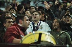Défenseurs d'équipe de CFR Cluj dans l'action Photo stock