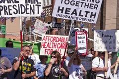 Défenseurs de démonstration de soins de santé d'Obama Images libres de droits