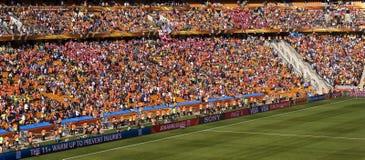 Défenseurs du football à la ville du football - carte de travail 2010 de la FIFA photos stock