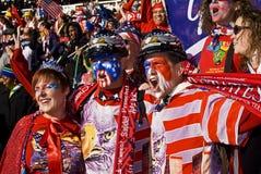 Défenseurs du football des Etats-Unis - carte de travail 2010 de la FIFA Image libre de droits