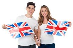 Défenseurs du Royaume-Uni avec des drapeaux Image stock