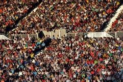 Défenseurs heureux du football Photographie stock libre de droits