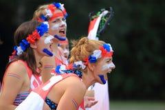 Défenseurs néerlandais d'équipe de lacrosse images stock