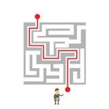 Défi de manière de Labyrinth Choosing Path d'homme d'affaires illustration de vecteur