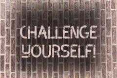 Défi des textes d'écriture de Word vous-même Concept d'affaires pour le défi fort d'amélioration d'encouragement de confiance Ove photo stock