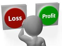 Déficit ou retour d'exposition de boutons de bénéfice de perte Photo libre de droits