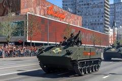 Défilé d'équipement militaire sur Victory Day le 9 mai images libres de droits