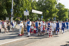 Défilé de festival national estonien de chanson à Tallinn, Estonie Images libres de droits