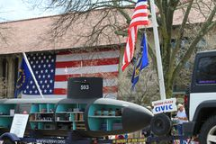 Défilé de jour de patriotes à Lexington, mA le 15 avril 2019 image stock