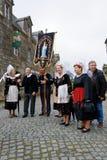 Défilé de robe d'indulgence en Locronan, 01 images libres de droits