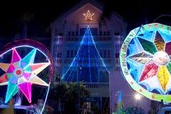 Défilé de Sakhon Nakhon de festival d'étoile de Noël en Thaïlande Photo libre de droits