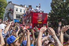 Défilé 2014 de victoire de la Fa cup d'arsenal Images libres de droits