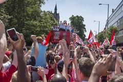 Défilé 2014 de victoire de la Fa cup d'arsenal Images stock