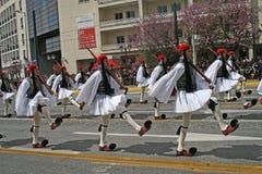 Défilé grec de Jour de la Déclaration d'Indépendance - dispositif protecteur présidentiel d'Euzones Photo libre de droits