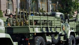 Défilé militaire en capitale ukrainienne Image libre de droits