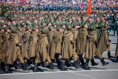 Défilé militaire pendant la célébration du jour de victoire Image libre de droits