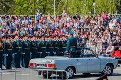 Défilé militaire pendant la célébration du jour de victoire Photographie stock libre de droits
