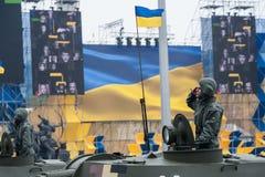 Défilé militaire pour le Jour de la Déclaration d'Indépendance ukrainien Photographie stock libre de droits